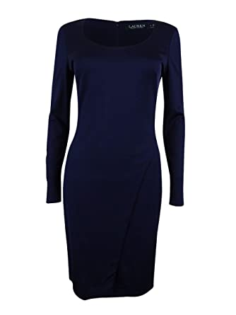 Lauren Ralph Lauren Womens Asymmetric Scoop Neck Wear to Work Dress Navy 4