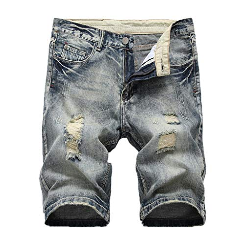 Denim Shorts Forthery Mens Stretch Denim Short Ripped Distressed Jeans Pants Jean Short with Hole Cargo Shorts(Gray,XXL=36)