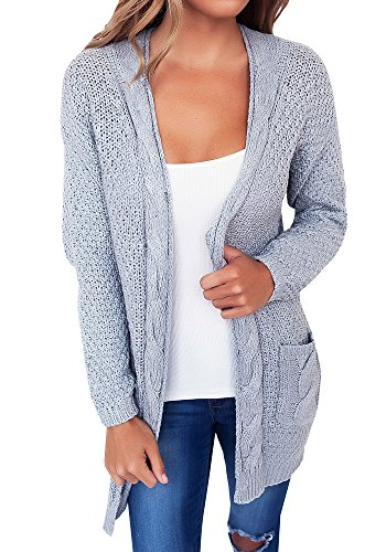 Casual Long Sleeve Front Open Sweater Cardigans (Juniors Open Weave)