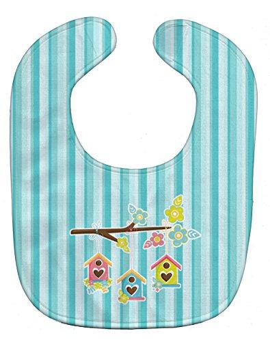 Caroline's Treasures Baby Bib, Birdhouses on Blue Stripes, - English Birdhouse