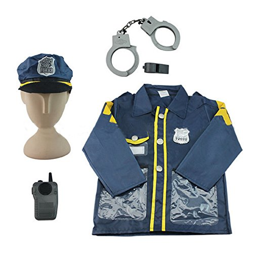 Police Officer Role Play Costumes, Dress Up Clothes Set Toy, Pretend Play Officer, Best Christmas Birthday Gift for 3, 4, 5, 6 Year Olds Kids, Toddler, Preschool, Boys, Girls - iPlay, iLearn