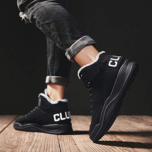 Herren Schwarz Mode Herren Freizeitschuhe 3 MUOU Top Leder High Sneaker Atmungsaktive Schuhe Schwarz Männer Turnschuhe 7HxwqFnq1T