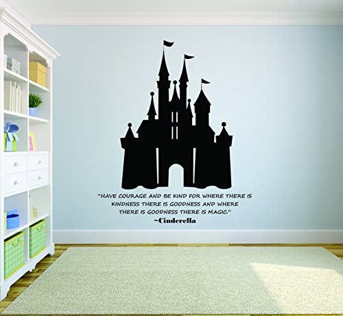Cinderella Princess Wall Decal/Disney Wall Art Vinyl Decals Stickers for Girls Bedroom Room/Removable Designs for Girl Walls Have Courage Castle Size 20x20 inch