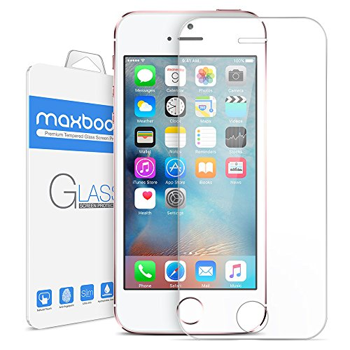 iPhone SE Screen Protector, Maxboost iPhone SE 5S 5 5C Glass Screen Protector [Tempered Glass] 0.2mm Ballistics Glass and Work with Most Protective Case - Clear 1 Pack