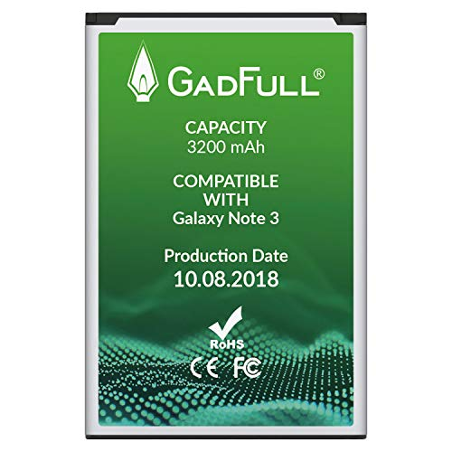 GadFull Battery for Samsung Galaxy Note 3 | Production Date 2018 | Corresponds to The Original EB-B800BE | Smartphone Model GT-N9000 | GT-N9005 | GT-N 9006 | GT-N9009 | Replacement Battery