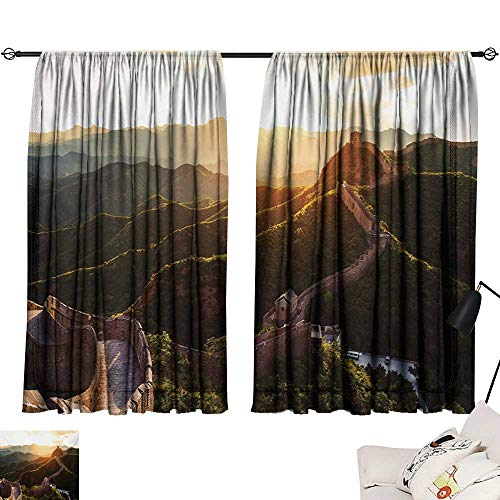 "Adjustable Tie Up Shade Rod Pocket Curtain Great Wall of China,Historical Structure at Sunset Time with Hazy Mystic Image Print,Yellow Green 63""x72"",Home Garden Bedroom Outdoor Indoor Wall Decoration from Ediyuneth"