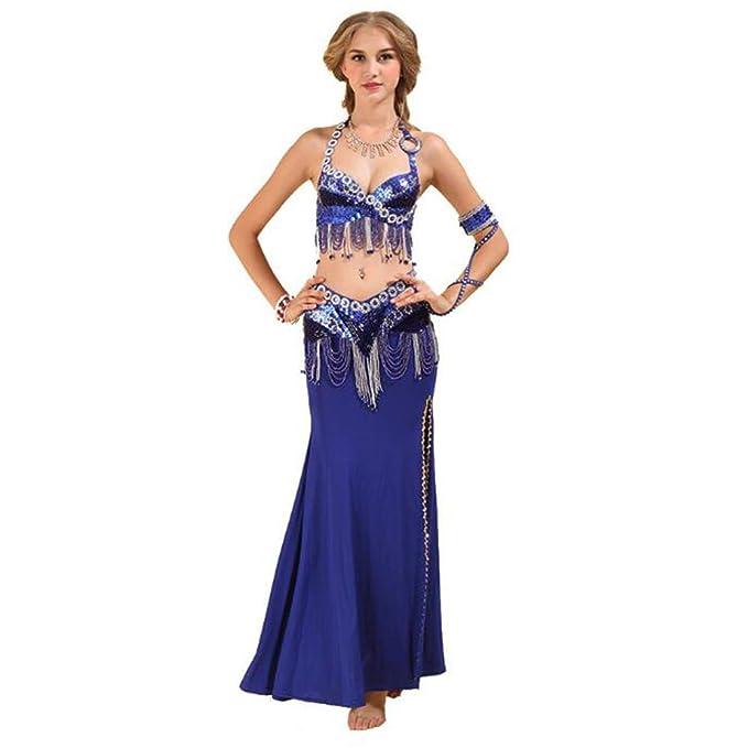 S&Z Juego de Danza del Vientre para Mujer Lentejuelas con Cuentas Conjunto de Vestido de Danza