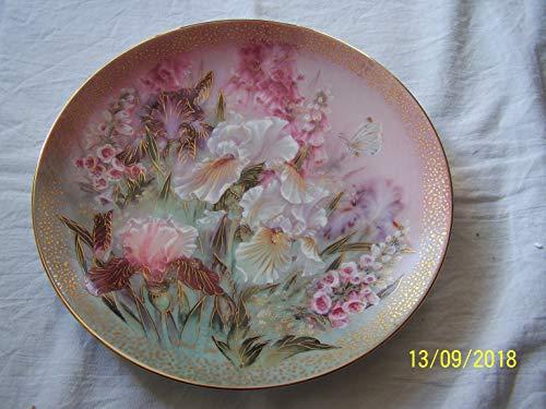Bradford Exchange c1991 Lena Liu Iris Quartet Symphony of Shimmering Beauty plate CP1564 (Lena Liu Music Box)