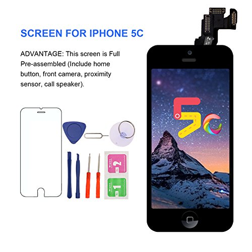 (For iPhone 5C Screen Replacement With Home Button, Front Camera, Earspeaker - MAFIX Full Assembly LCD Display Digitizer Touch Screen Kit With Repair Tools and Glass Protector)