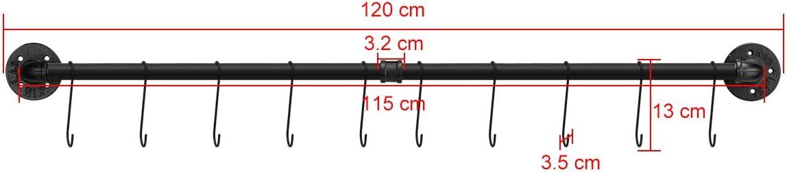 Hackenleiste K/üchenreling Pfannenhalter Toplife K/üchen H/ängeleiste f/ür K/üchenutensilien 60 cm industrieller Stil mit 10 Hacken