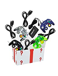 4 Pack Gamecube Controller Bundle - with 4 Extension Cords and a 4-Port Adapter for Switch PC by EVORETRO