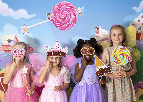 Candy Land Theme Photo Booth Backdrop and Props - Make a Photo Booth and Photography Backdrop for Parties | Candy Birthday Party Decorations for Girls & Candy Birthday Party Supplies | 17 Piece Set