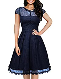IHOT Women's Vintage Lace Cap Sleeve Retro Swing Elegant Dress for Special Occasion