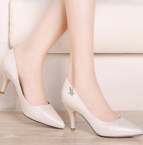 Lady High Beige 7Cm Fine Spring Work Bow Heel Heels Sharp Work 36 Sweet Shoes Single Head Leisure MDRW Shoes Elegant YwXYd