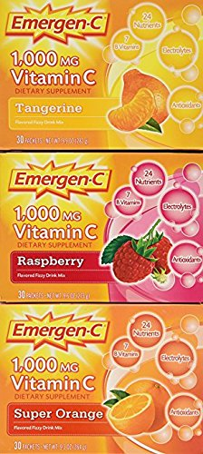 Emergen-C (90 Count, Variety Pack) Dietary Supplement Drink Mix with 1000mg Vitamin C, 0.32 Ounce Packets, Caffeine Free- Pack of 4 by Emergen-C