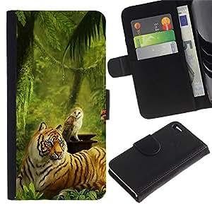 Planetar® Modelo colorido cuero carpeta tirón caso cubierta piel Holster Funda protección Para Apple Apple iPhone 4 / iPhone 4S ( Pintura del tigre de la selva verde del búho Animales )