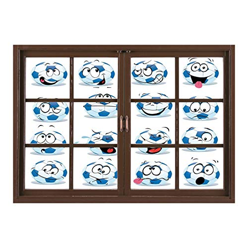 SCOCICI Window Frame Style Home Decor Art Removable Wall Sticker/Sports Decor,Cartoon Soccer Ball with Many Expressions Bored Laughing Happy Smiley Face Print,/Wall Sticker Mural