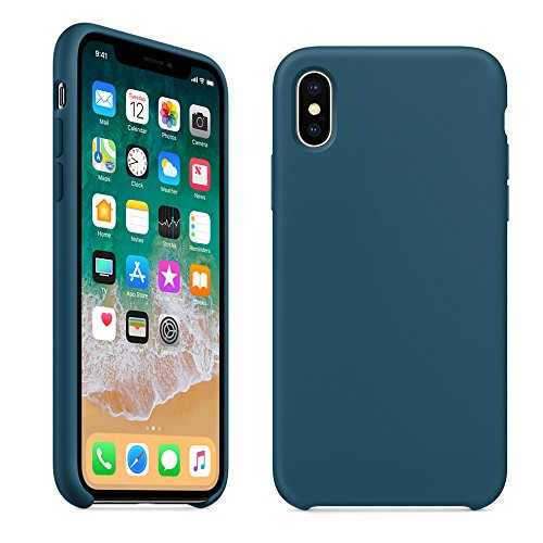iPhone X Silicone Case,LINDIANSHUMA Soft Liquid Silicone Protective Cover Smooth Shockproof DropProof Shell for Apple iPhone X /10 5.8 inch(Cosmos - Cosmo Blue