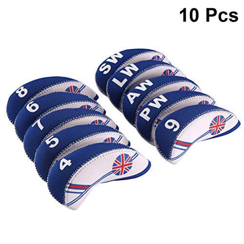 LIOOBO 10 PCS Golf Head Covers Club Covers British Neoprene Club Headcovers Iron Putter Headcover Putter Head Protector Set (White and Blue)