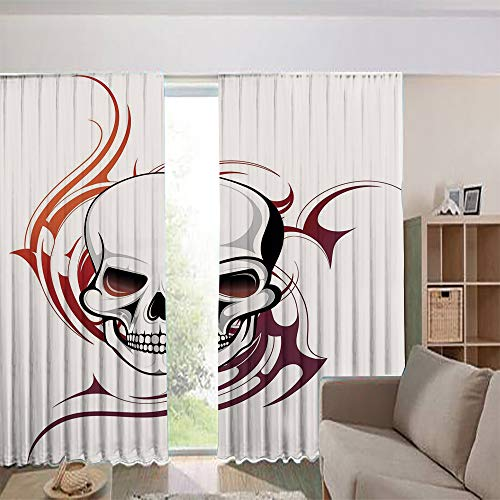- iPrint Bedroom/Living Room/Kids/Youth Room Curtain Panels,Drapes for Dining Room,Country Style,Wild Skull with Red Flames Tribal Artistic Tattoo 108Wx108L Inch