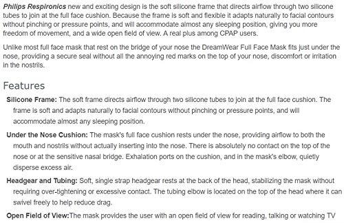 DreamWear_Full_Face_Mask Size_MediumWide (Model_1133378)-No_Headgear($1_Extra) by Philiips_Respiironics_ (Image #4)