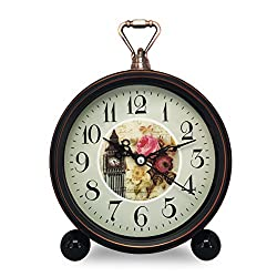 Vintage Retro Living Room Decorative Non-ticking, Sweep Second Hand, Quartz, Analog Large Numerals Bedside Table Desk Alarm Clock, Battery Operated (Clock Tower)