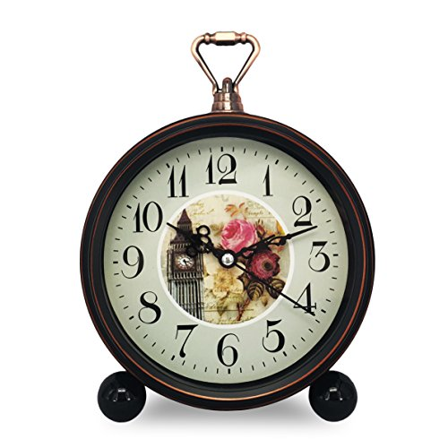 Room Decorative Non-ticking, Sweep Second Hand, Quartz, Analog Large Numerals Bedside Table Desk Alarm Clock, Battery Operated (Clock Tower) ()