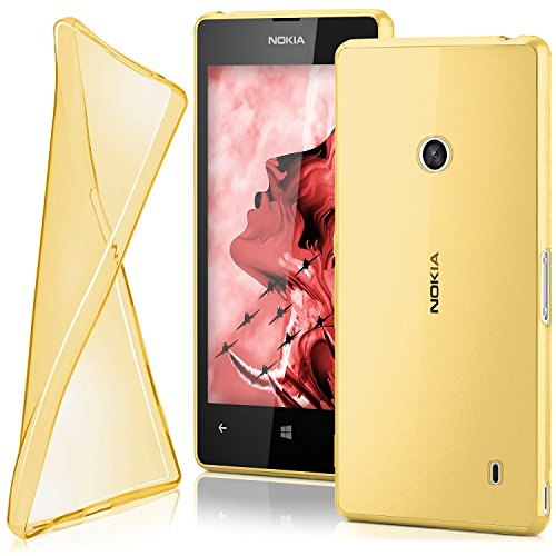 moex Ultra-Clear Case [Transparent] to fit Nokia Lumia 520   Non-Slip and Thin, Gold (Nokia Lumia 520 Back Cover)