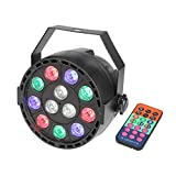 GBGS Par Uplights Party 12 Led Stage DJ Lighting with Remote Control RGBW DMX512 Mixing Color Washing Can 8CH for Wedding, Birthday, Event Effect