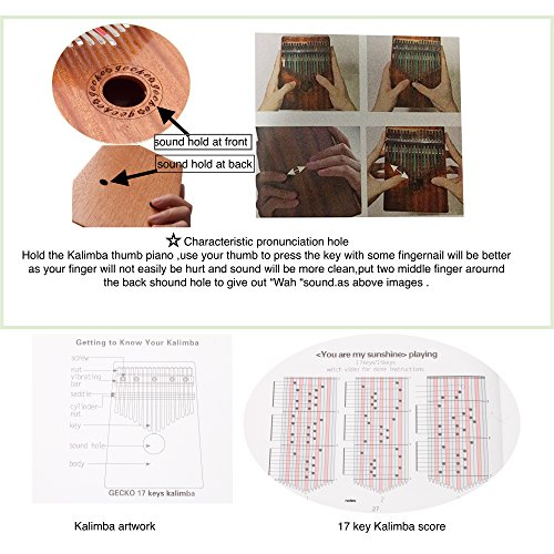 Gecko Kalimba 17 Key with Mahogany,Portable Thumb Piano Mbira/Marimba Sanza of Wooden Attached Ore Metal Tines - Image 4
