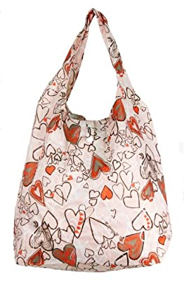 Trendy Sturdy Shopping Tote Bag - Trace Hearts Pattern