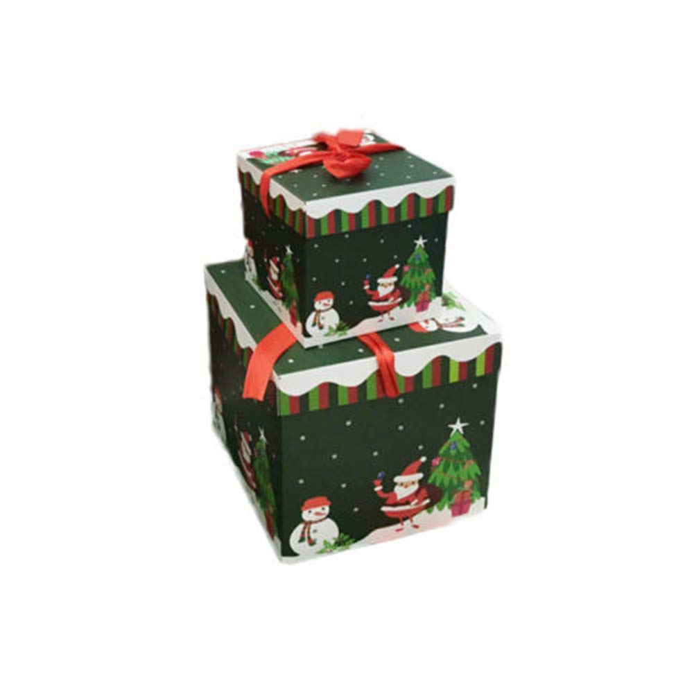 Boxes Xmas Printed Ribbon Decoration Nesting Gift Boxes Large Square Candy Box with Lids (10x10, Green Santa)