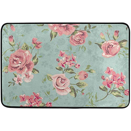 Staromia Vintage Country Garden Roses Floral Flowers Non Slip Doormat Doormats Area Rug for Entrance Way Front Door Indoor Outdoor 23.6 by 15.7 Inches 40 x 60 cm