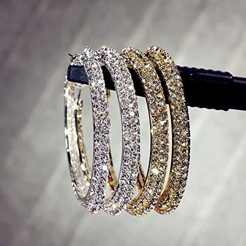 Opeof Earrings Trendy Lady Rhinestone Jewelry Decor Hip Hop Big Circle Ring Hoop Earrings - Golden 7cm