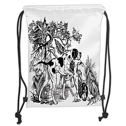 Custom Printed Drawstring Sack Backpacks Bags,Hunting Decor,Hunting Dogs in Forest Monochrome Drawing English Pointer and Setter Breeds,Black White Soft Satin,5 Liter Capacity,Adjustable String Closur ()