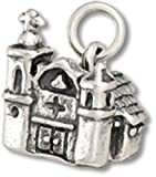 Sterling Silver 20'' Boys 1.2mm Box Chain 3D Mission Style Adobe Church Pendant Necklace