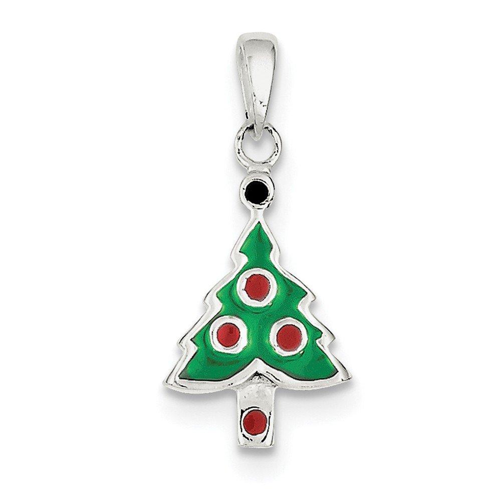 Sterling Silver Enameled Christmas Tree Pendant