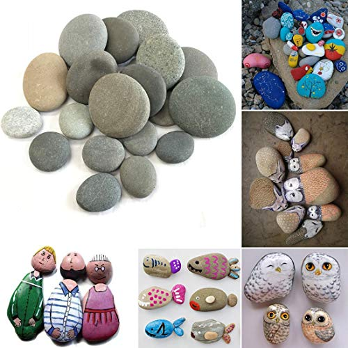 Painting Rocks 20 Rocks for Kindness Painting or Mandala Rock Painting,Chistmas Gift About 2 to 3 inches(Grey)