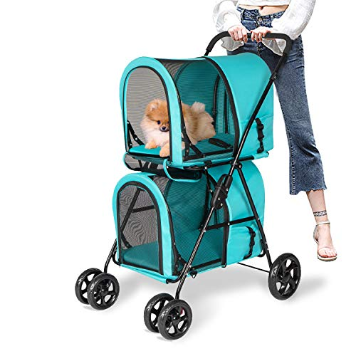 Kinsuite Pet Stroller with Detachable Carrier Folding Travel Carriage for Pets & Cats Easy to Walk Blue
