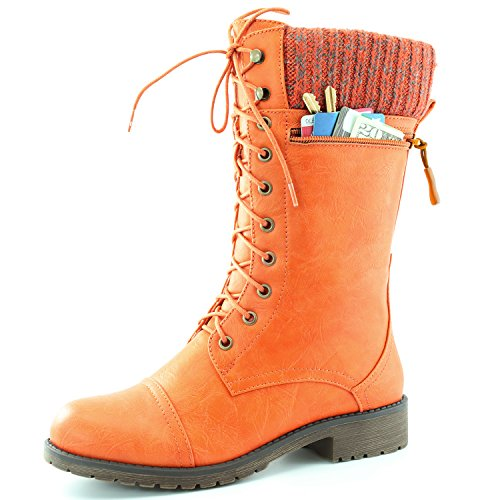 Women's DailyShoes Combat Style Lace up Ankle Bootie Round Toe Military Knit Credit Card Knife Money Wallet Pocket Boots, Orange Pu, (Orange Boots)