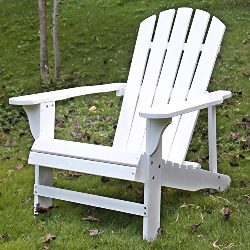 SFYLODS White Outdoor Painted Wood Fashion Adirondack Chair/Muskoka Chairs Patio Deck Garden Furniture