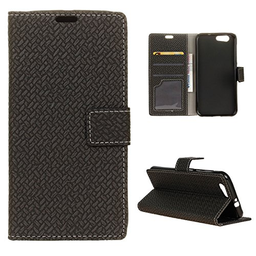 Scheam ZTE Blade A512 Case, Wallet Case, New Premium PU Leather Flip Case Cover with Card Slots & Kickstand for ZTE Blade A512 - Black
