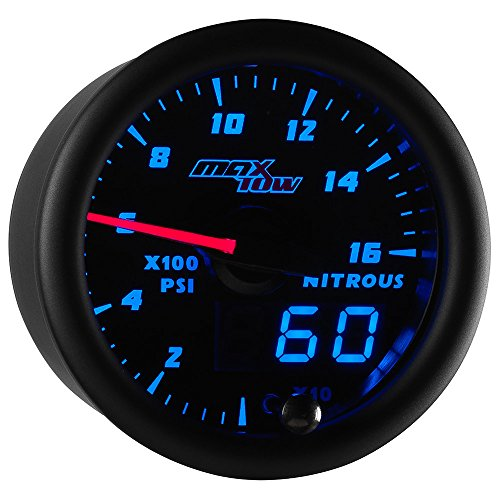 Nitrous Bottle Pressure Gauge - MaxTow Double Vision 1,600 PSI Nitrous Pressure NOS Gauge Kit - Includes Electronic Sensor - Black Gauge Face - Blue LED Illuminated Dial - Analog & Digital Readouts - 2-1/16