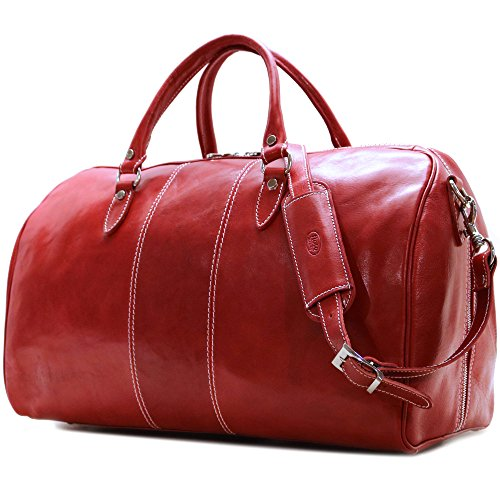 Floto Venezia Duffle Tuscan Red Italian Leather Weekender Travel Bag