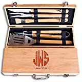 Engraved Monogram Fathers Day 11 Piece BBQ Grill Set with Bamboo Case - BBQ.07