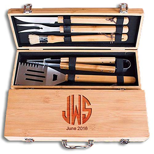 (Engraved Monogram Fathers Day 11 Piece BBQ Grill Set with Bamboo Case - BBQ.07)