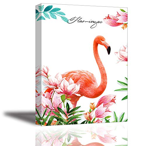 Tku's Beautiful Pink Flamingo Canvas Painting Elegant Bird