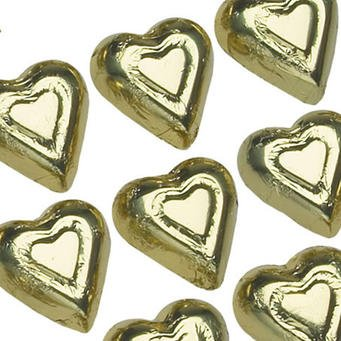 Madelaine Gold Solid Milk Chocolate Hearts (1/2 Lb - Appr...