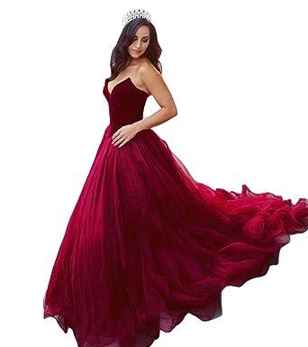 DreHouse Womens Burgundy Velvet Tulle Princess Prom Gowns Quinceanera Dresses 2018