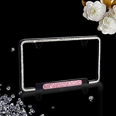 JR2 Premium Shinning Glass Crystals Black Metal License Plate Frame(Oval Shiny Crystal Design)+Free Caps (Pink): Automotive